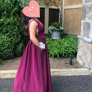 worn once sparkly wine v-cut prom dress